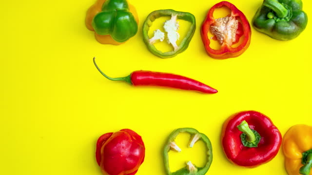 stop motion of fruit and vegetable moving on color background - bell pepper stock videos & royalty-free footage