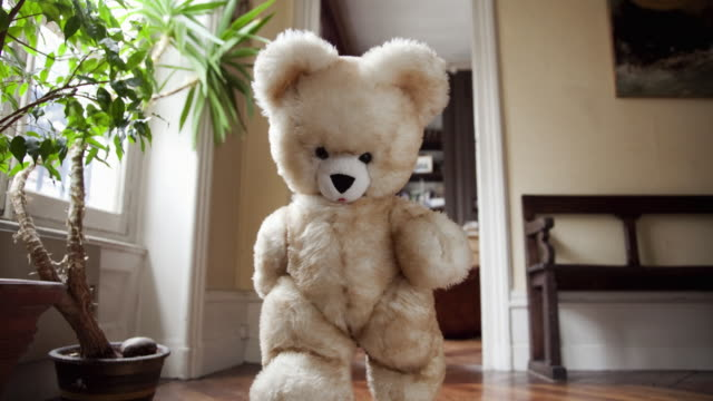 stop motion / pixilation shot of teddy bear running to the camera in apartment - 人工物点の映像素材/bロール