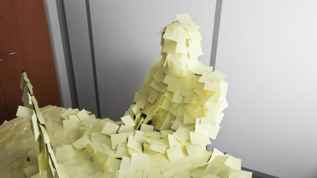 stockvideo's en b-roll-footage met stop motion track shot of businessman suddenly covered by post it - humour