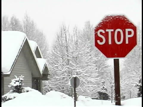 stop sign in the snow - sheppard132点の映像素材/bロール