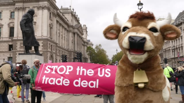 stop trump stop the trade deal protest on 24th october 2020 in parliament square london united kingdom the protest and press call featured a... - us president stock videos & royalty-free footage