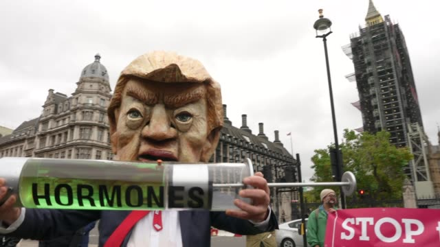 stop trump, stop the trade deal protest on 24th october 2020 in parliament square, london, united kingdom. the protest and press call featured a... - donald trump us president stock videos & royalty-free footage