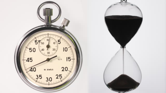 stop watch and hour glass starting from zero. - hourglass stock videos & royalty-free footage