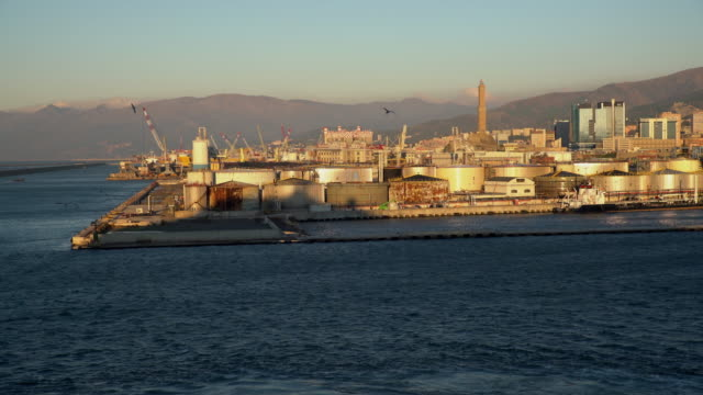 WS Storage tanks and cranes in harbor of Genoa