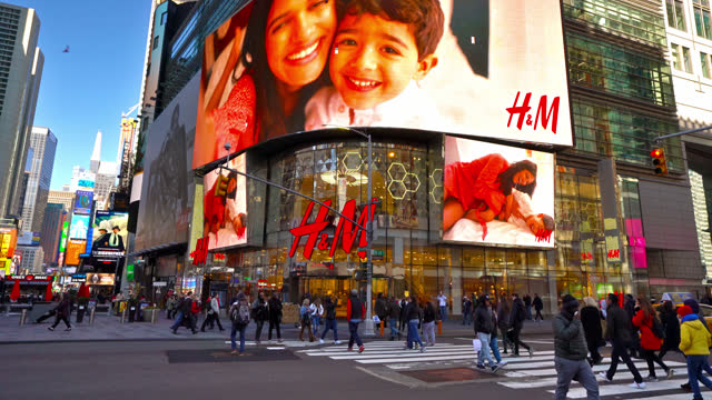 h&m store at times square - the alphabet stock videos & royalty-free footage