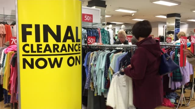 bhs store chain goes into administration / sir philip green potential contribution england manchester stockport int various shots 50 per cent off and... - cent sign stock videos & royalty-free footage