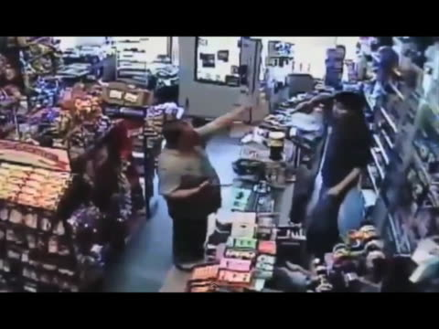 A store clerk with a real gun thwarted a robbery attempt by a guy with a pellet gun