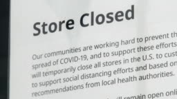 Store Closure Sign Due To COVID-19