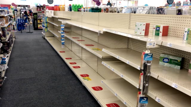 store emptied of essentials such as paper towels in southern california during the coronavirus scare. - shelf stock videos & royalty-free footage