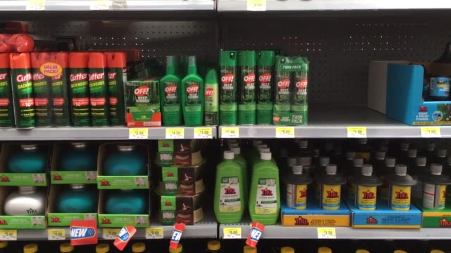 store shelves are stocked with bug spray. the texas medical center is giving two bug sprays away to pregnant women. - virus zika video stock e b–roll