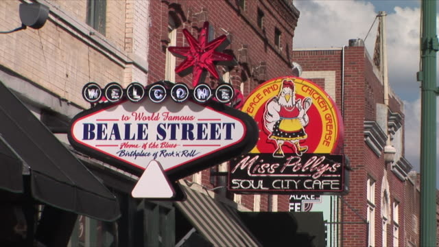 cu zo ws store signs in beale street, memphis, tennessee, usa - memphis tennessee stock videos & royalty-free footage