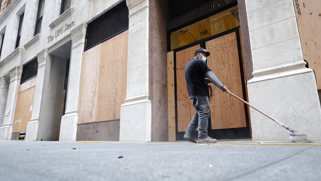 store window boarded up before u.s. presidential election in san francisco, california, u.s., on monday, november 2, 2020. - san francisco california stock videos & royalty-free footage