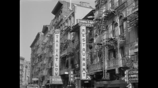1948 storefronts in chinatown, nyc - chinatown stock videos & royalty-free footage
