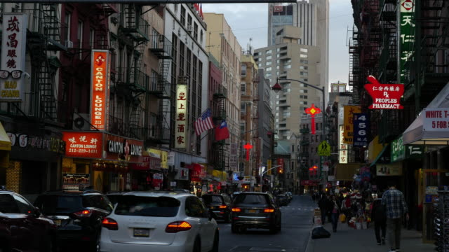 stores in new york city chinatown at twilight - chinatown stock videos & royalty-free footage