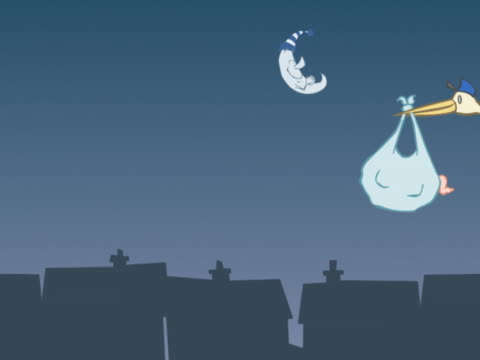 Stork Flying in a Moonlit Sky Dropping a Sack Conatining a Newborn Baby into a Chimney