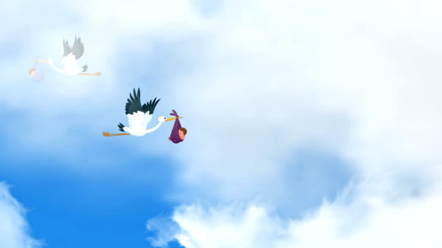 storks carrying babies - baby girls stock videos & royalty-free footage