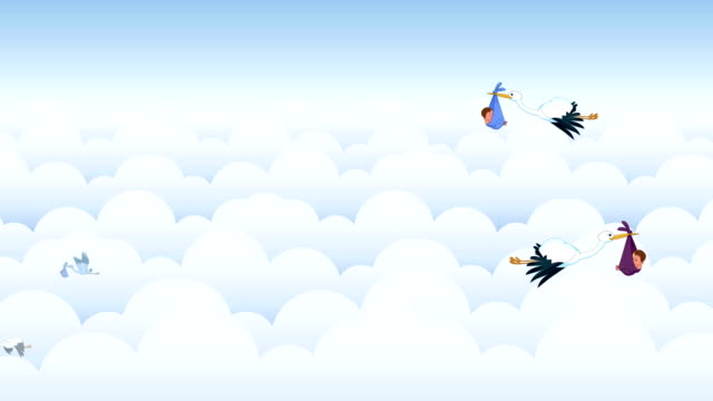 storks carrying babies - announcement message stock videos & royalty-free footage