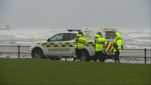 two people killed scotland ayrshire ardrossan wide shot waves in harbour coastguard van near sea kevin paterson interview sot - coast guard stock videos and b-roll footage