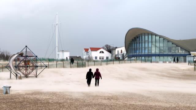 storm at rostock warnemünde - extreme weather stock videos & royalty-free footage
