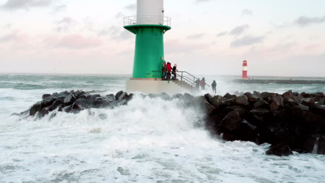 storm at the baltic sea in rostock warnemünde slow motion - coastal feature stock videos & royalty-free footage