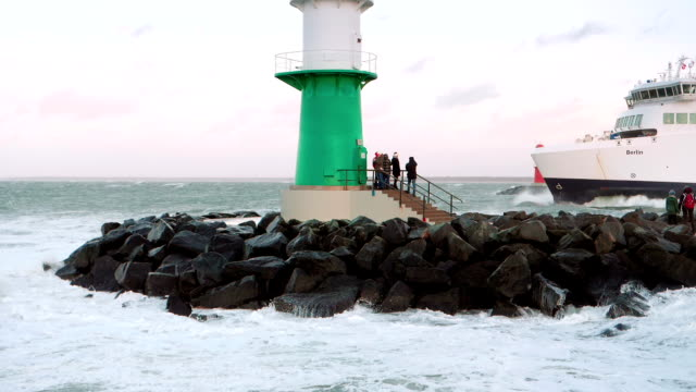 storm at the baltic sea in rostock warnemünde slow motion - baltic sea stock videos and b-roll footage
