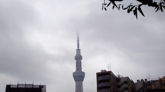 4 k: 東京スカイツリーの嵐 - スカイツリー点の映像素材/bロール
