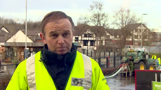 george eustice visits northwich; england: cheshire: northwich: george eustice mp interview sot - the flood defences did their job...did actually... - occurrence stock videos & royalty-free footage