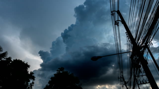 t/l storm cloud with electrical power pole - power line stock videos & royalty-free footage