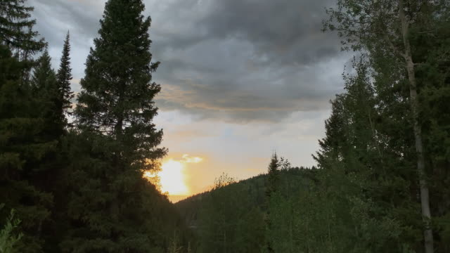 storm clouds and a sunset over forested mountains close to targhee village near alta, wyoming - coniferous stock videos & royalty-free footage