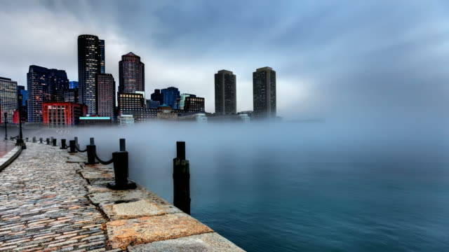 Storm clouds and fog approaching Downtown Boston
