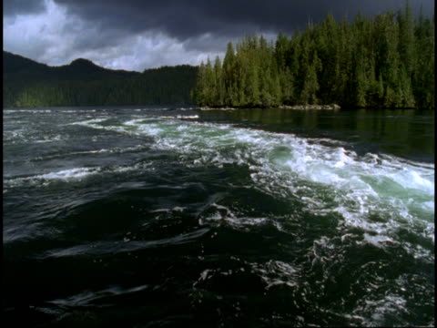 Storm clouds cover the sky above a swirling eddy at Telegraph Cove.