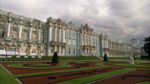 Storm clouds loom in the sky over Catherine Palace. Available in HD.
