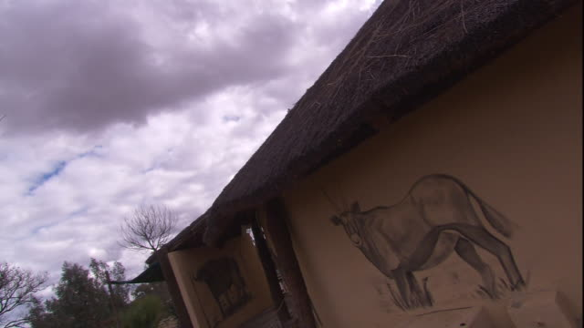 storm clouds loom over a house with a thatched roof and animal murals in south africa. - thatched roof stock videos and b-roll footage