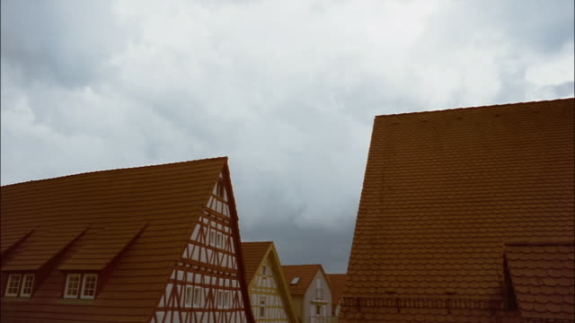Storm clouds move over the rooftops in the village of Brackenheim, Germany.