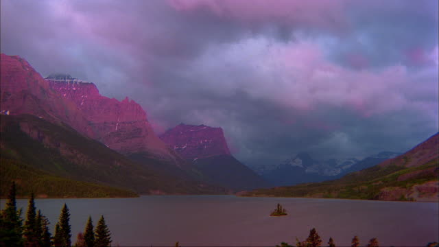 Storm clouds move through the sky over St. Mary Lake  in Glacier National Park.