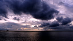 Storm Clouds moving Time lapse over the lake