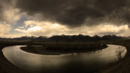 Storm forming over Yellowstone river