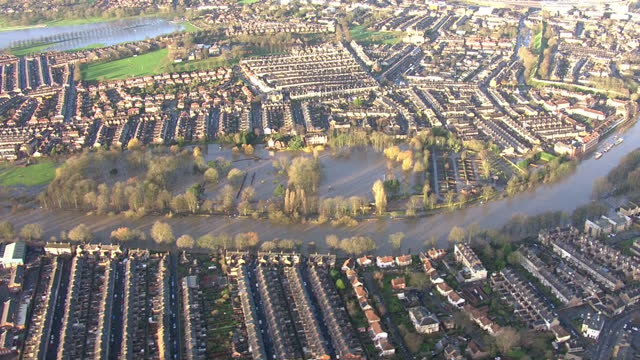 Storm Frank clean up operations underway in the UK Shows exterior shots aerials flooded land high water in River Foss on December 31 2015 in York...