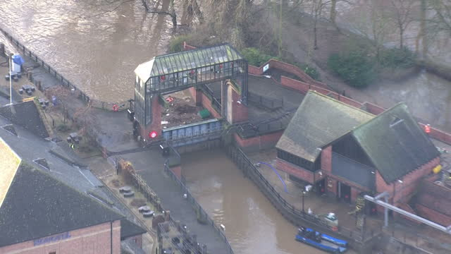 Storm Frank clean up operations underway in the UK Shows exterior shots aerials Foss Barrier flood defence on December 31 2015 in York United Kingdom