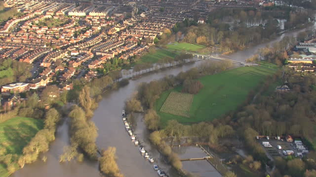 Storm Frank clean up operations underway in the UK Shows exterior shots aerials flood water over fields high river on December 31 2015 in York United...