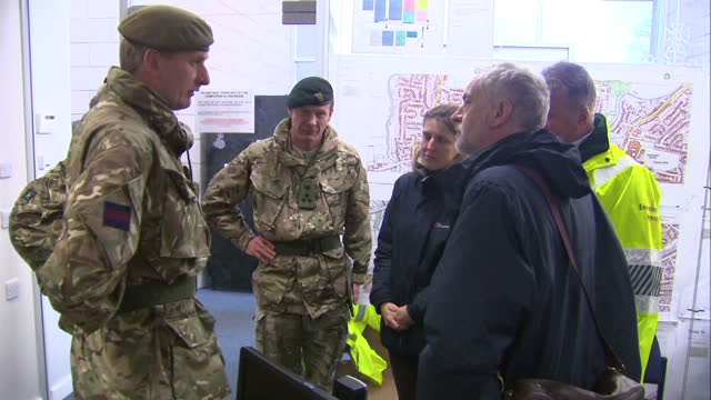 Storm Frank clean up operations underway in the UK Shows interior shots Jeremy Corbyn MP Labour Leader talking to soldiers on December 31 2015 in...