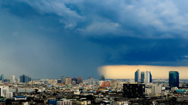 storm is coming in the city timelapse in bangkok thailand - covering stock videos and b-roll footage