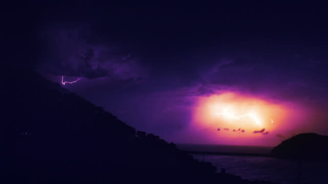 storm on a rocky coast. lightning - storm cloud stock videos & royalty-free footage