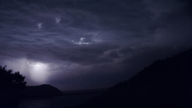 storm on a rocky coast - thunderstorm stock videos & royalty-free footage