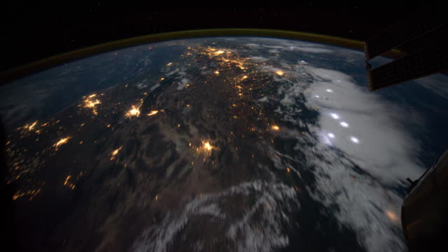 Storm on Northwest coast of United States to Central South America at Night time lapse