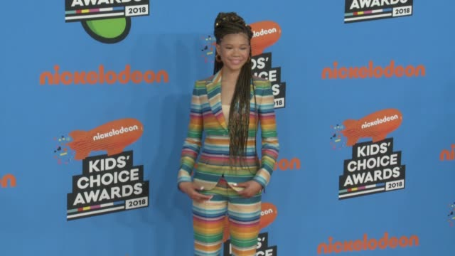 storm reid at the nickelodeon's 2018 kids' choice awards at the forum on march 24 2018 in inglewood california - 31st annual nickelodeon kids' choice awards stock videos and b-roll footage