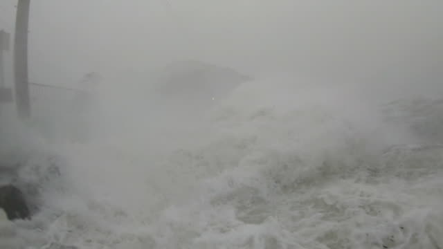 storm surge waves and powerful hurricane winds lash camera as typhoon hagibis hits japan - storm surge stock videos & royalty-free footage