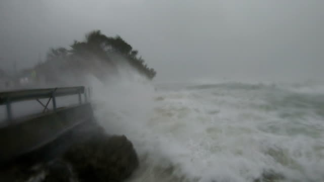 storm surge waves and powerful hurricane winds lash camera as typhoon hagibis hits japan - extreme weather stock videos & royalty-free footage