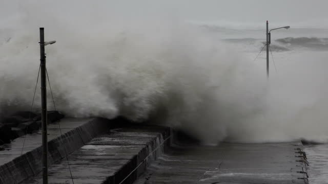 storm surge waves swamp small fishing harbor as typhoon hagibis hits japan - tropical climate stock videos & royalty-free footage