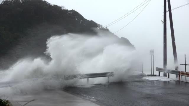 storm surge waves swamp small fishing harbor as typhoon hagibis hits japan - pacific ocean stock videos & royalty-free footage
